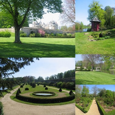 montage of the gardens at chateau du Lude