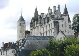 view of Loches chateau from lower town