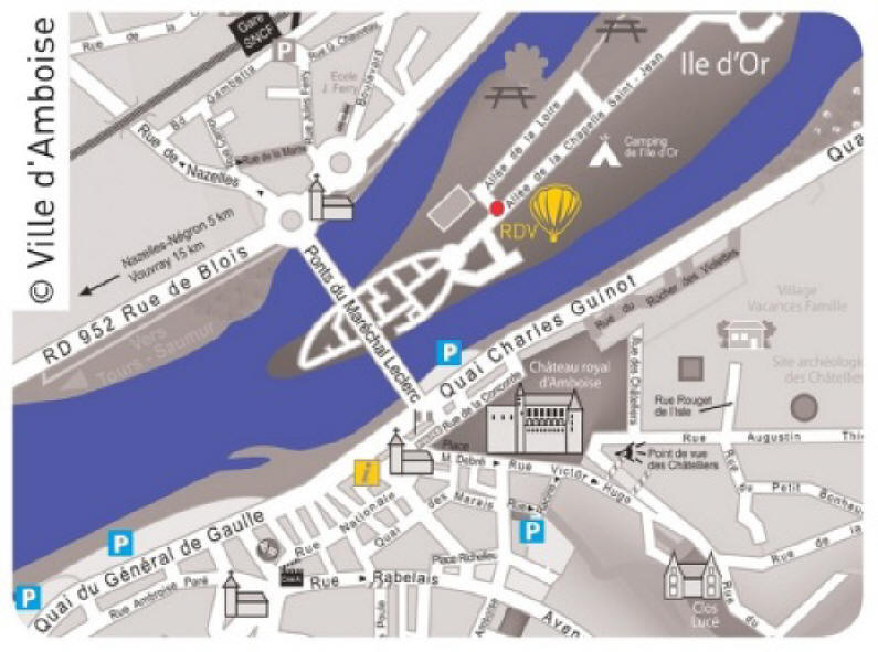 map showing parking in Amboise