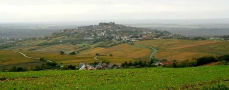 view over the vines to the village of Sancerre