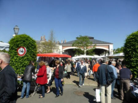 Dovered halls at Langeais Sunday market in the Loire Valley