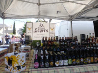 Wines at Langeais Sunday market in the Loire Valley