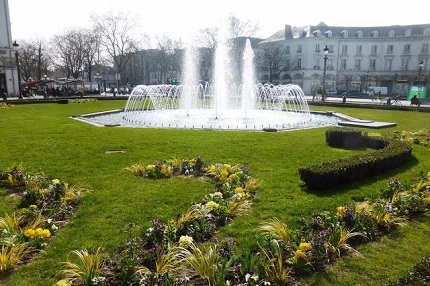 Fountain at Place Jean Jaures in the city of Tours in the Loire Valley