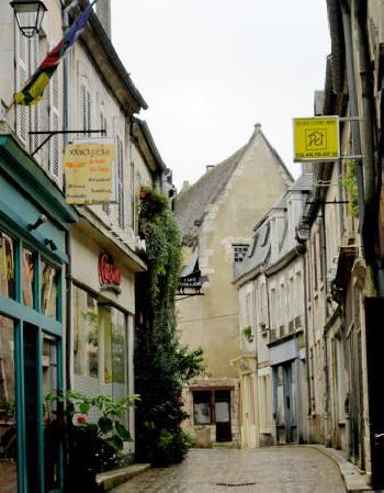 Narrow street in the hilltop village of Sancerre in the Loire Valley