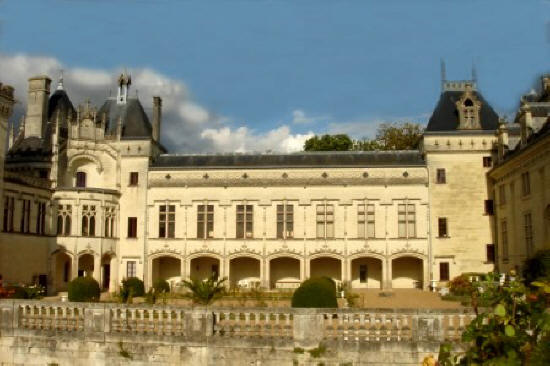 view of the renaissance wing of Chateau de Breze in the Loire Valley.France