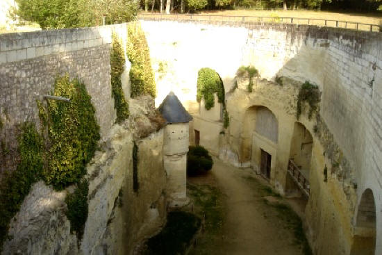 Looking into the deep dry moat of Chateau de Breze in the Loire Valley.France