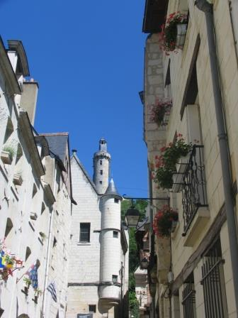 a street in the medieval town of Chinon in the Loire Valley