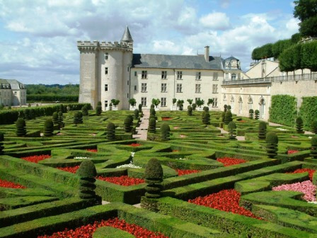 The chateau at Villandry viewed over the cross garden