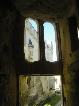 window view of subteanean part of Chateau de Breze in the Loire Valley.France