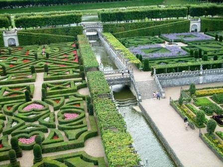 looking down at the cross garden from the tower at Chateau Villandry in the Loire Valley France