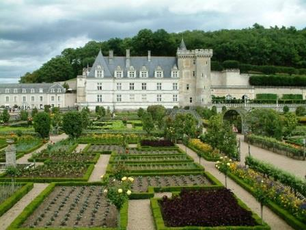 Looking over the kitchen gardens at Chateau Villandry in Centre-Val de Loire  towards the chateau itself