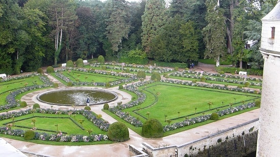 View of Catherine de Medici gardens from the chateau at Chenonceau
