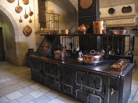 The large ovens in the kitchens of Chateau de Chenonceau