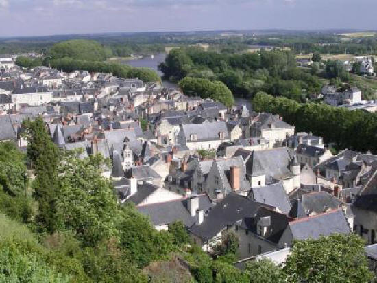 rooftops of houses in Chinon in France
