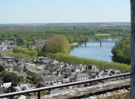 a view of Tour du Moulin and the river Vienne from fortress  Chinon