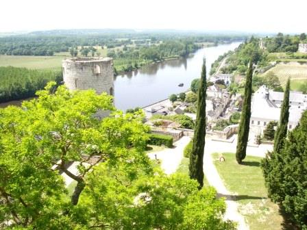 a view of Tour du Moulin and the river Vienne at Chinon