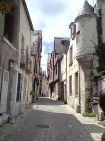 medieval street in Chinon,Loire Valley,France