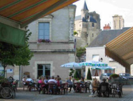 Tables in the square in Le Grand Pressigny