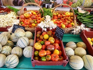 Fruit and vegetables on market stall in the Loire Valley