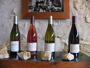display of Loire Valley wine bottles