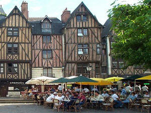 Timbered houses in Place  Plumereau in Tours France
