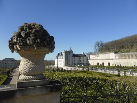 Chateau Villandry in the Loire Valley viewed from the urn on the terrace