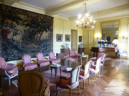Drawing room set out in Chateau Villandry in the Loire Valley in France