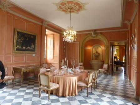 Dining room set out in Chateau Villandry in the Loire Valley in France