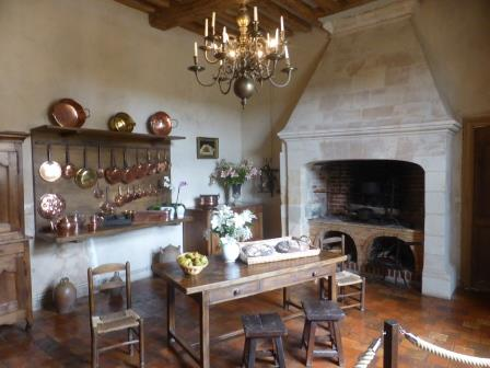 Kitchen set out in Chateau Villandry in the Loire Valley in France