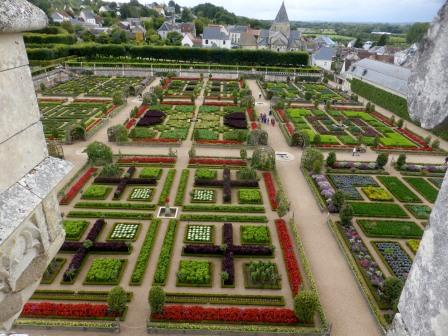 View of the kitchen gardens at Chateau Villandry in the Loire valley from atop of the tower