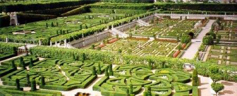 View of the garden terraces at  Chateau Villandry in the Loire Valley in France