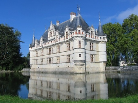 chateau Azay le Rideau on the river Indre in the Loire Valley in France