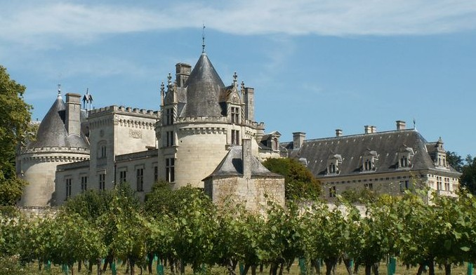 Exiernal view of Chateau de Breze in the Loire Valley.France