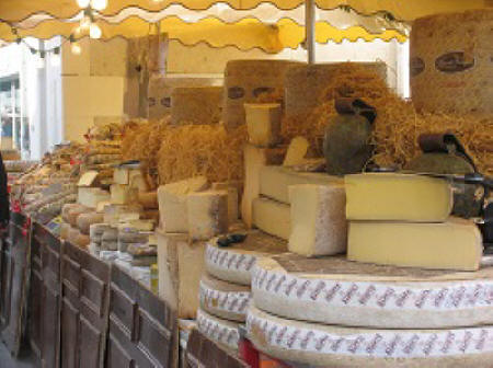 cheese stall at Loches market