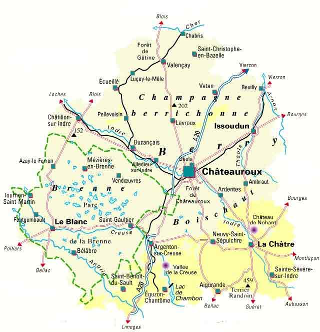 Map information on the indre region of central france for Region loiret