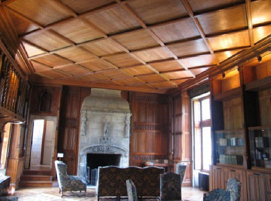 panelled ceiling in the library of chateau Cande in the Loire Valley in France