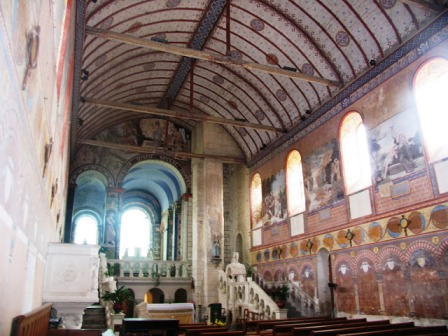 painted interior of Notre-Dame de Riviere church